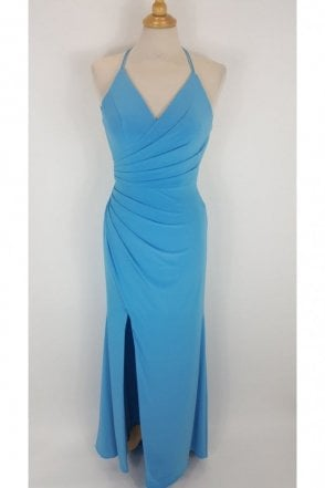 Turquoise Tara Crossover Back Evening Dress