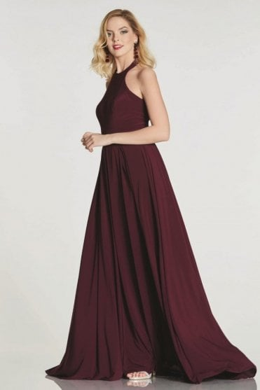 Wine Annabelle halterneck dress