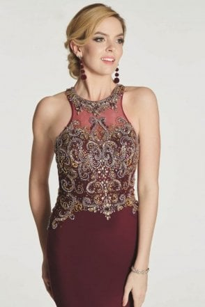 Wine Ashley heavily beaded bodice dress