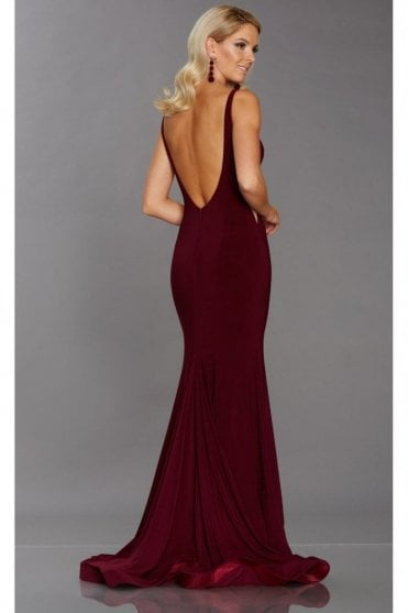 Wine Brooke low back jersey dress