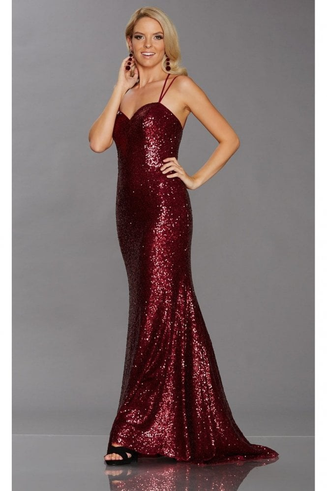 Tiffanys Illusion Prom Wine Cali Sweetheart double strap Gown