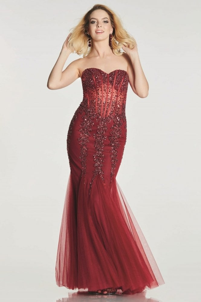 Tiffanys Illusion Prom Wine Eliza sparkly embellished Prom Dress