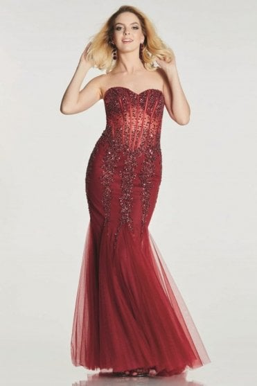 Wine Eliza sparkly embellished Prom Dress