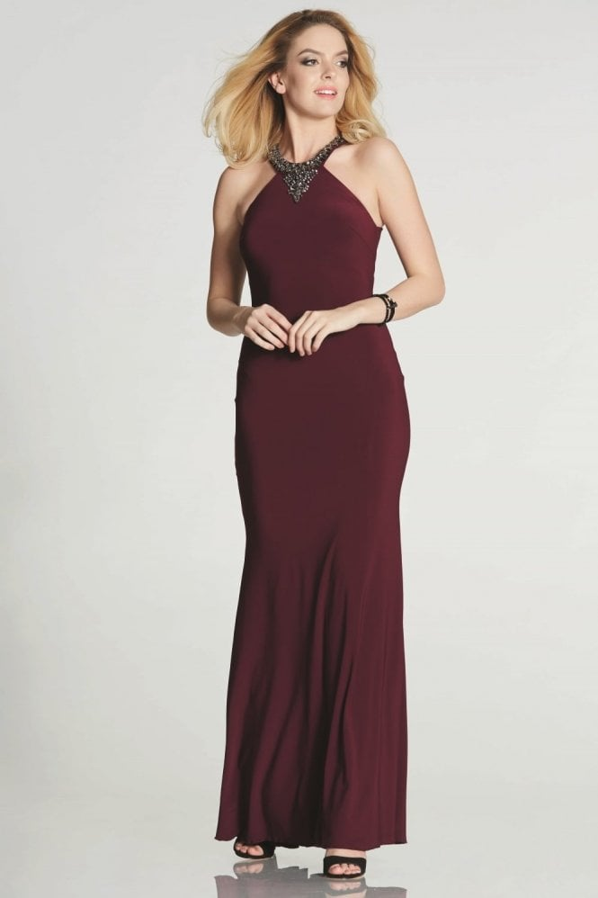 Tiffanys Illusion Prom Wine Gemma high neck fitted dress with pewter stones