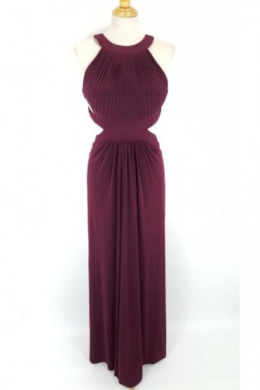 Wine Hillary Open Back Cut Away Side Dress