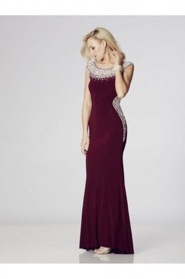 Wine Izzy beaded neckline Prom Dress