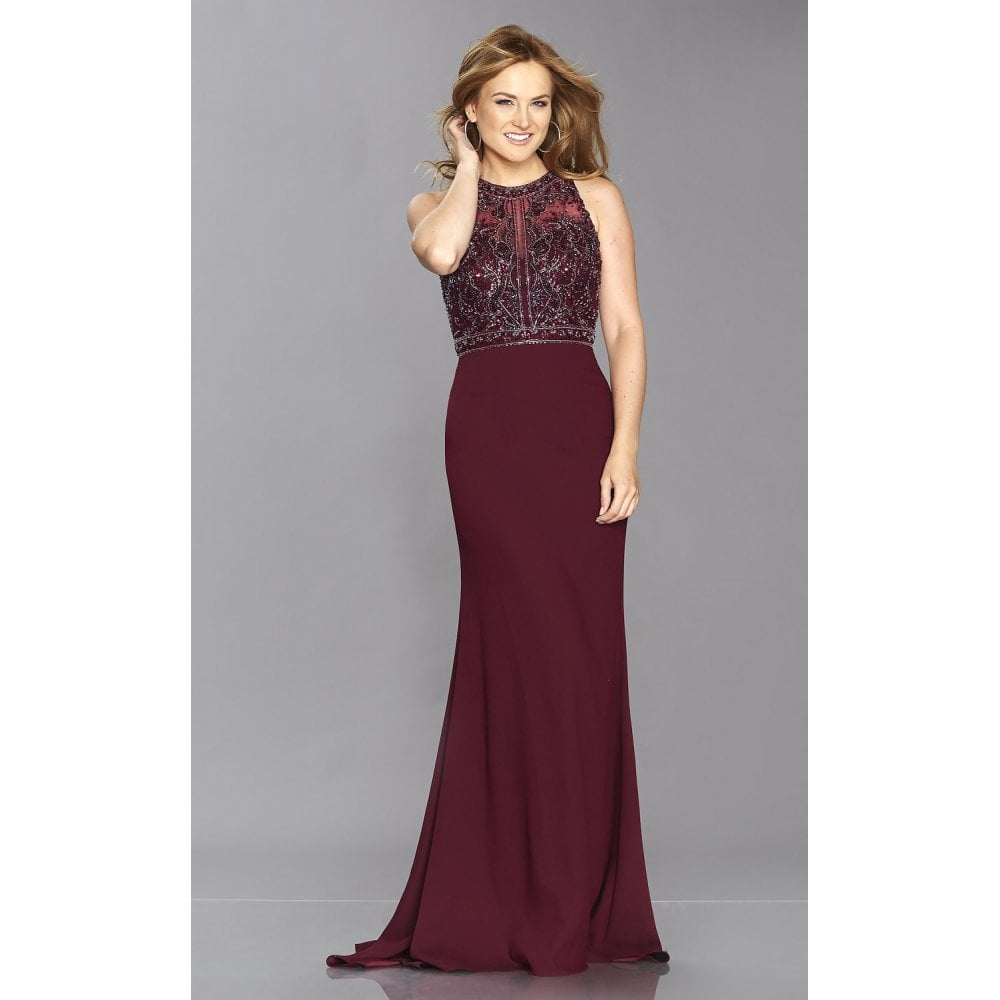 a8085d28271d Wine Kelsie Yiffany Illusion Open Back Beaded Top Jersey Gown