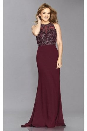 Wine Kelsie Open Back Beaded Bodice Gown