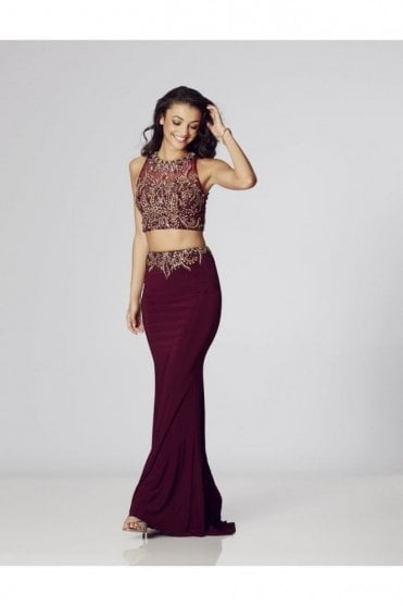 Wine Lorena Beaded Two Piece Gown