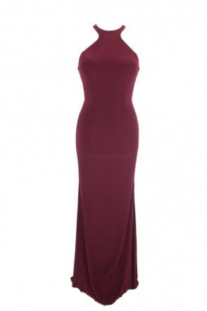 Wine Luna long jersey halter neck tie back dress
