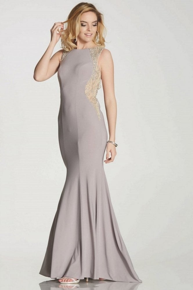 Tiffanys Illusion Prom Wine Mila jersey open back long gown