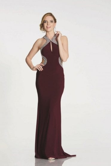 Wine Nancy deep open back dress