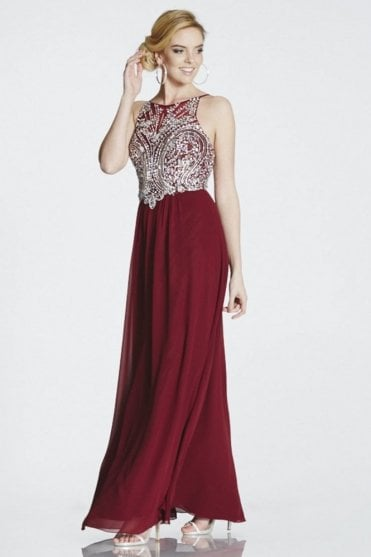 Wine Perryn chiffon gown with silver crystals