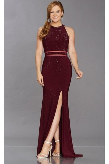 Wine Rita Sparkle high neck dress with split