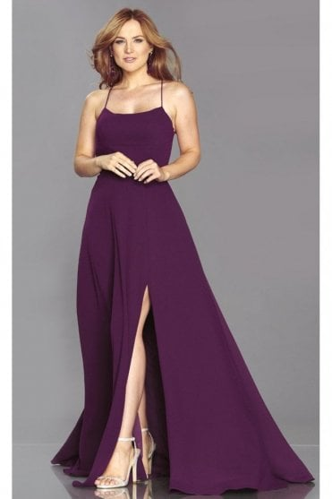 Wine Sabrina A-line cross back dress