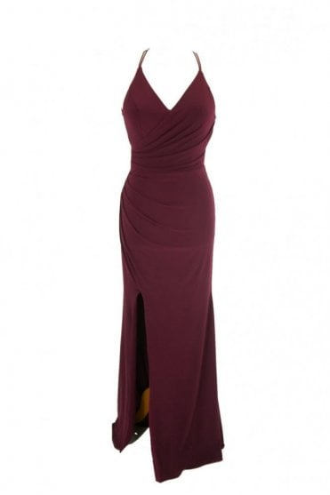 Wine Tara crossover back evening dress