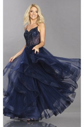 Wren Navy Net Tulle Dress,Beaded Bodice