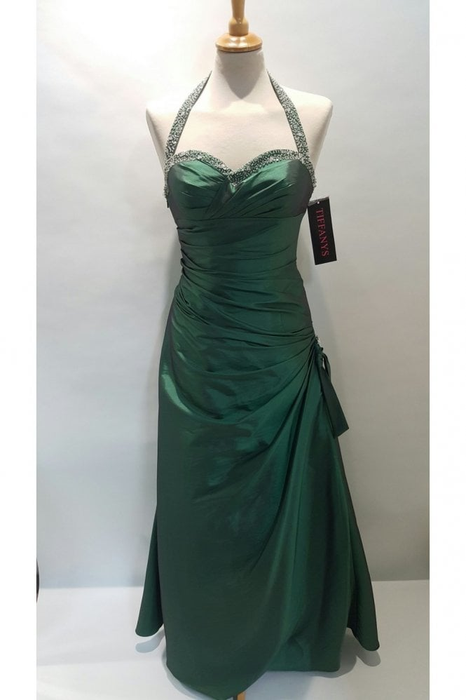 Tiffanys Jessica Emerald Green Taffeta Halter Neck Gown