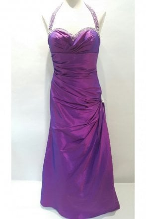 Jessica Purple Taffeta Halter Neck Gown