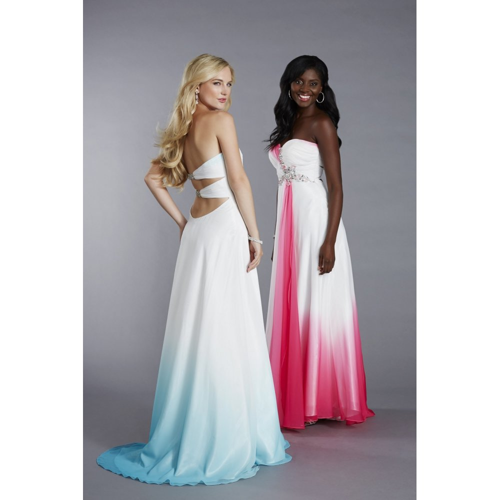 Tiffanys kay prom dress in white and fushia pink dip dye for Dyeing a wedding dress professionally