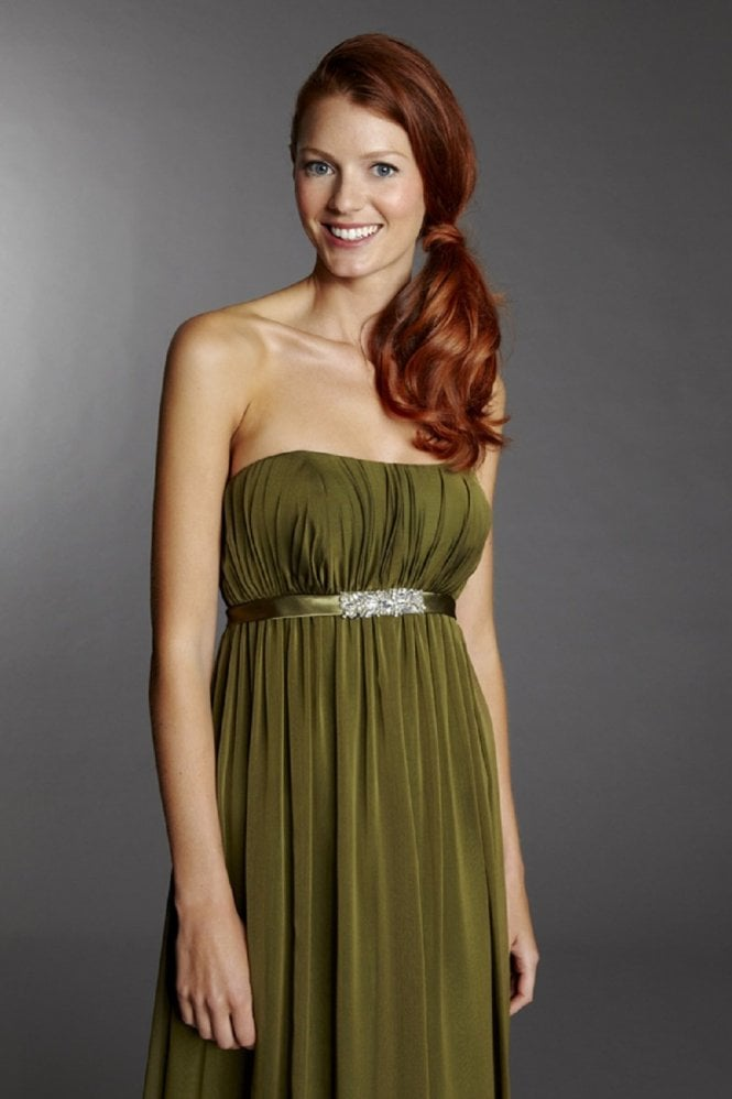Tiffanys Kirsty Olive Green Strapless Chiffon Gown