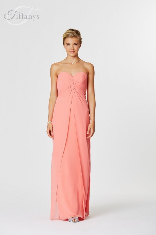 Tiffanys Serenade Christine Chiffon Bridesmaid Dress in Coral