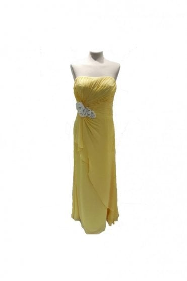Georgina Lemon Strapless Chiffon Dress