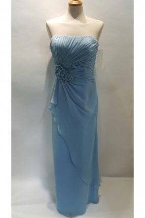 Georgina Pale Blue Strapless Chiffon Dress