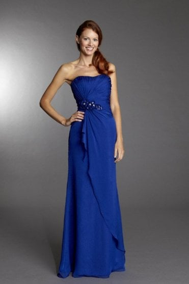 Georgina Royal Blue Strapless Chiffon Dress