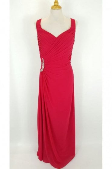 Hattie Red chiffon V neck dress