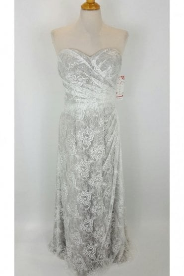 Ingrid Silver Lace Overlay floor length dress