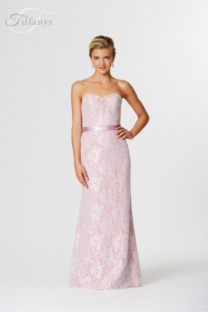 Tiffanys Serenade Ivory Kitty lace overlay sweetheart starpless gown