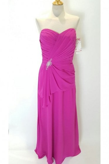 Janet Long Chiffon Strapless Dress in Hot Pink