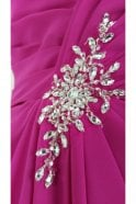 Tiffanys Serenade Janet Long Chiffon Strapless Dress in Hot Pink