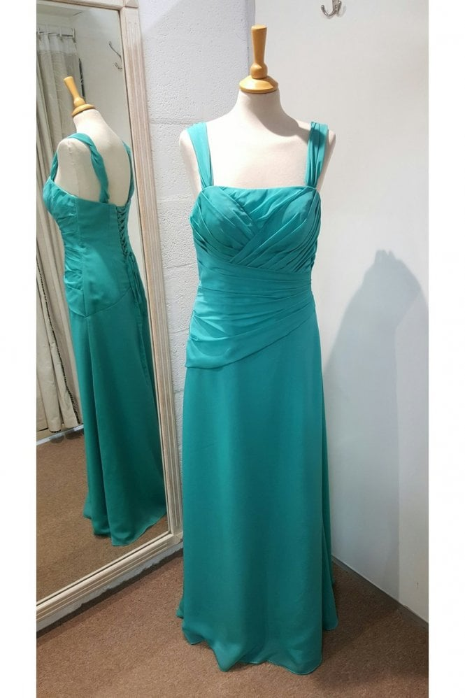 Tiffanys Serenade Jeanie chiffon with straps Dress Turquoise