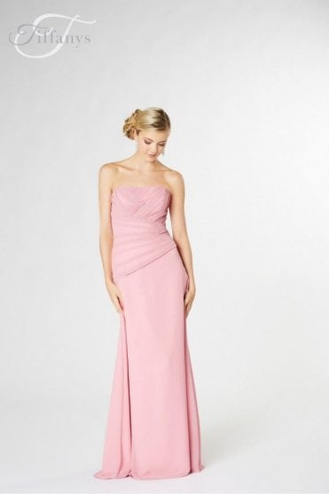 Jeanie Long Chiffon Dress in Pale Pink