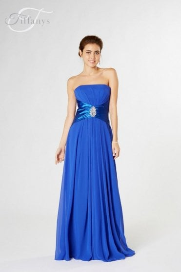 Keely long strapless chiffon dress in Royal Blue