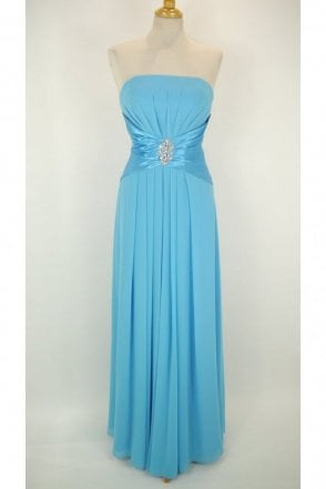 Keely long strapless chiffon dress in Turquoise