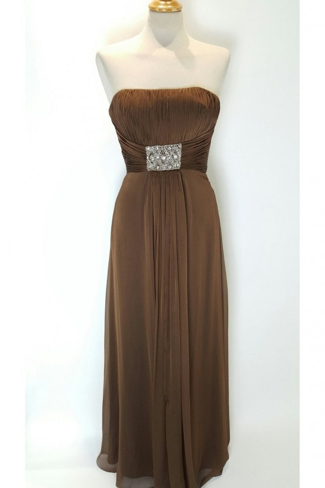Libby Chocolate Chiffon Bridesmaids Evening Dress
