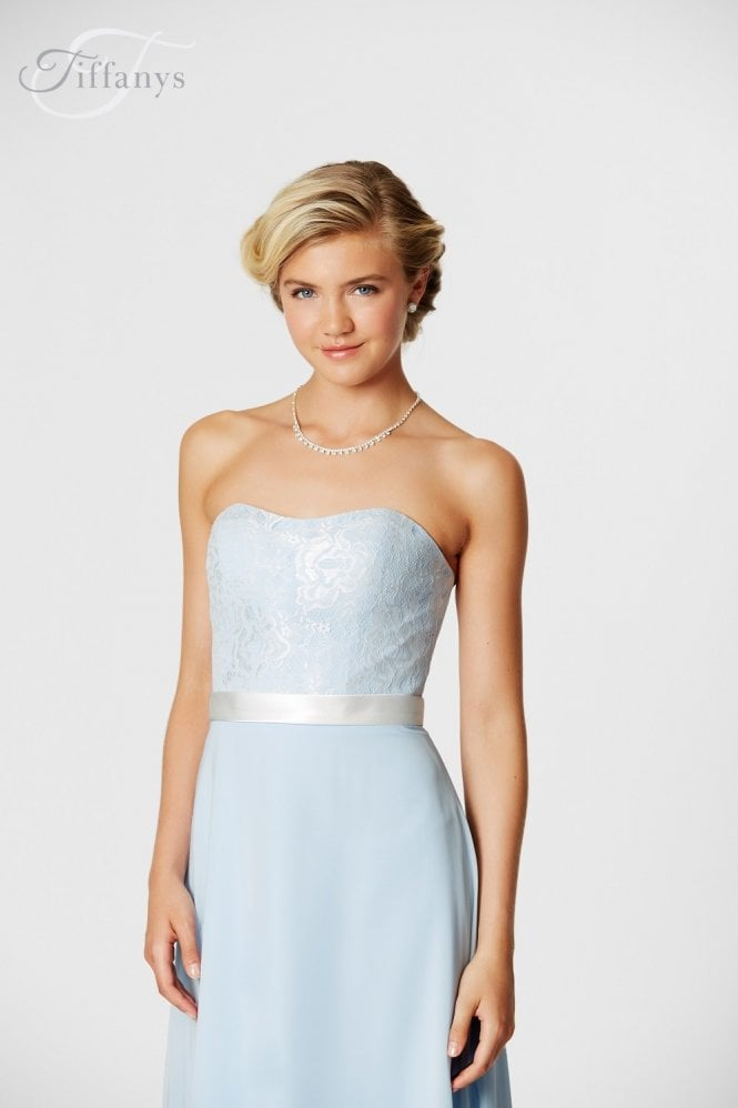 Tiffanys Serenade Michaela Ivory & Pale Blue long strapless sweetheart gown