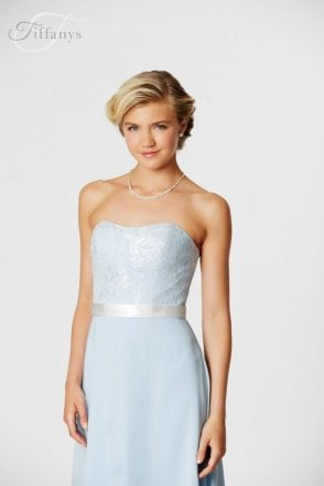 Michaela Ivory & Pale Blue long strapless sweetheart gown