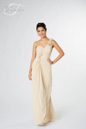 Navy Jasmine one shoulder chiffon Dress