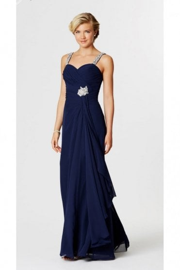 Navy Tia Pleated Chiffon Long Prom Dress