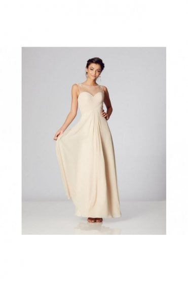 Plum Frankie Low Back Illusion Chiffon Dress