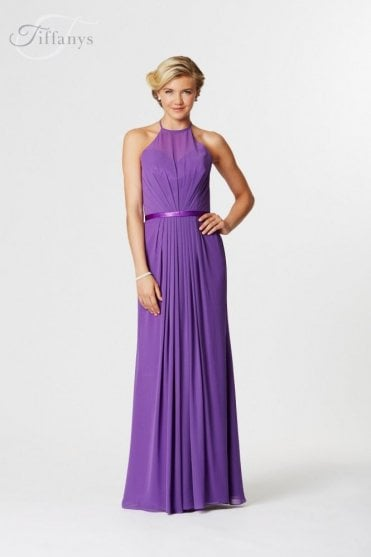 Poppy Purple High Neck Bridesmaid Dress