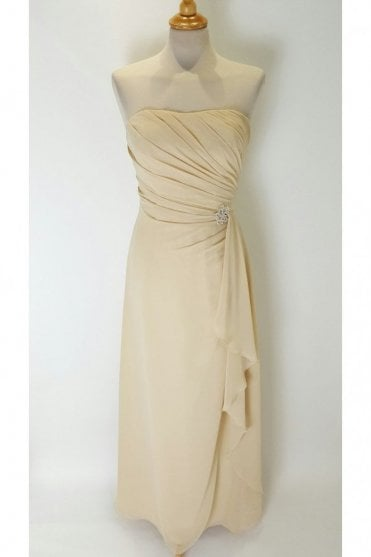 Rachel long chiffon gown in Nude