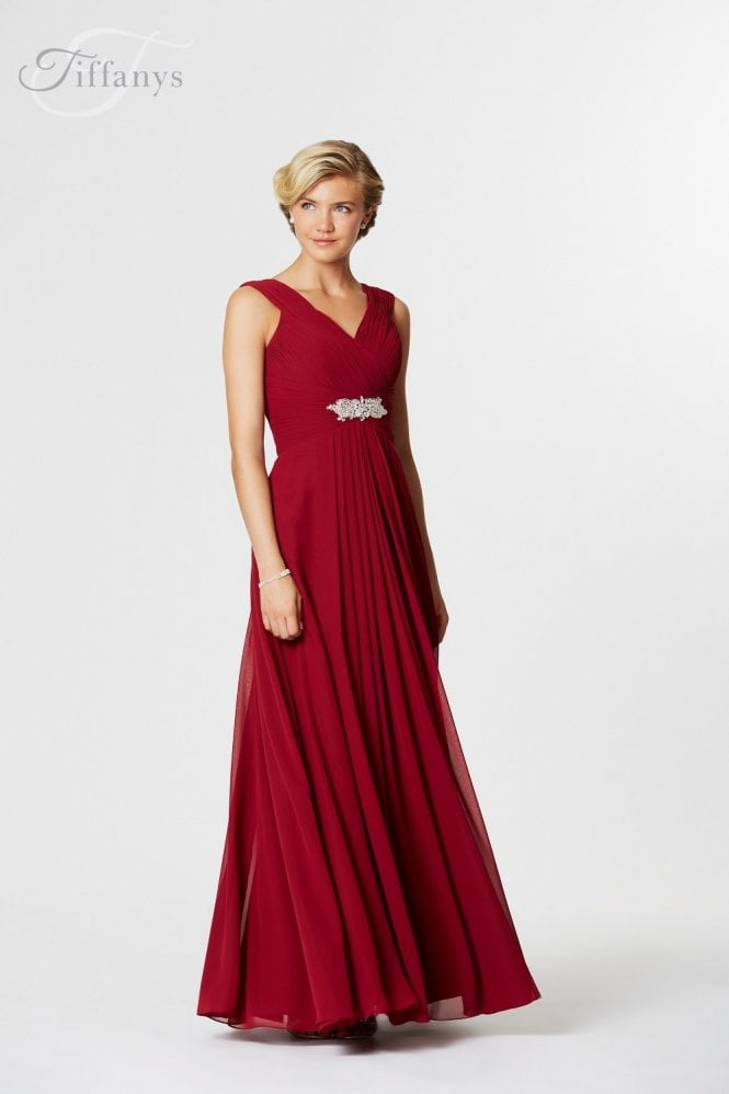 Tiffanys Serenade Rebecca long chiffon pleated dress with straps