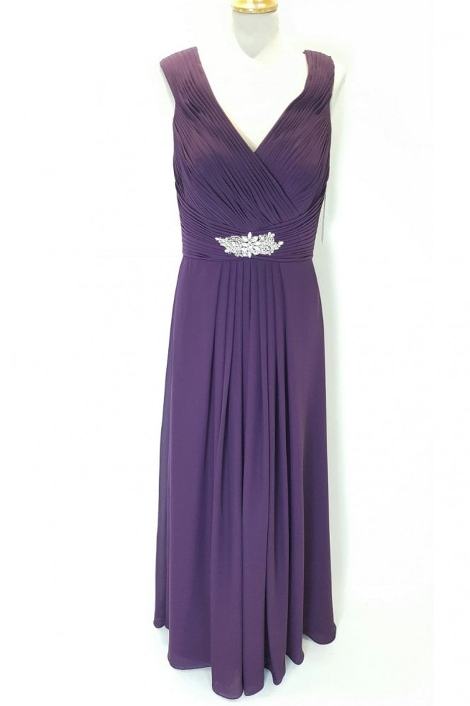 Rebecca Plum long chiffon pleated dress with straps