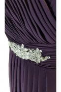 Tiffanys Serenade Rebecca Plum long chiffon pleated dress with straps