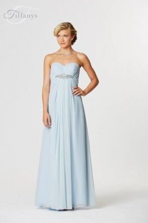 Rimini Pale Blue Long chiffon sweetheart dress